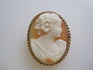 #109 ladys 14K gold shell cameo pin