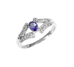 Tanzanita-Anillo-14-K-Oro-blanco-Diamantes-Brillantes-Wesselton-blanco-Joyas