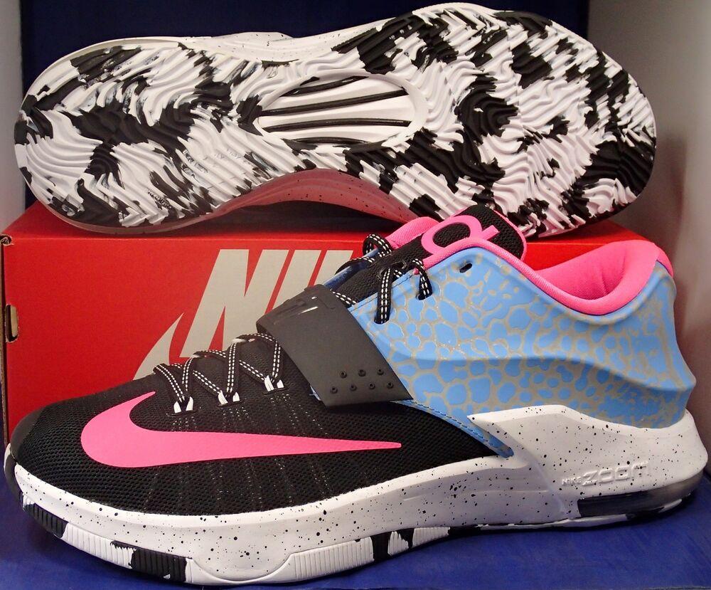 Nike KD VII 7 Identification Noir Bleu Rose Blanc Kevin Durant sz 13.5-