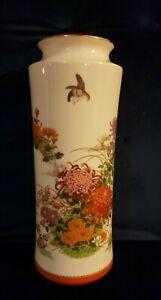 Japanese Ceramic Shibata Toki Vase: Large & White - Pheasant And Flowers Pattern