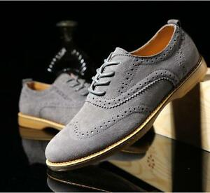 FASHION MENS OXFORD LACE UP WING TIP SUEDE CASUAL BROGUE DRESS SHOES BLue/Khaki