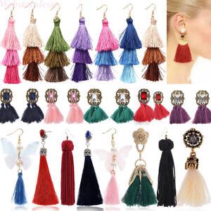 1-Paire-Femmes-Mode-Bohemien-Longue-Tassel-Frange-Boho-Crochet-Boucle-d-039-oreille