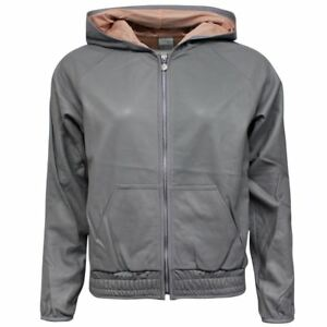 Nike Air Zip Up Grey Leather Womens Hooded Jacket 298968 082 M1  6ff77c1bb