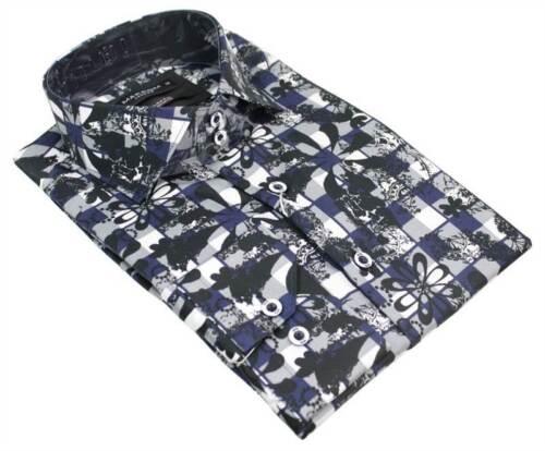 Mens Grey White Black Italian Buton Shirt Paisley Floral Print 100/% Cotton Slim