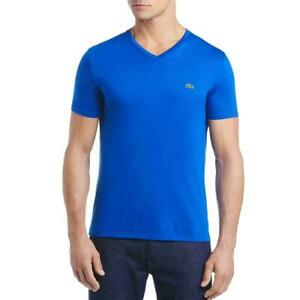 Lacoste-Mens-T-Shirt-Blue-Size-FR-4-US-Medium-M-V-Neck-Jersey-Knit-49-403