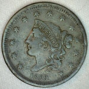 1839-United-States-Coronet-Head-Large-Cent-Copper-Coin-1c-US-Coin-VF-Very-Fine