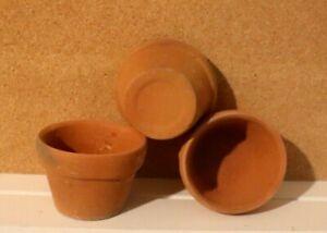 """Vintage SET 3 Terra Cotta 3/"""" X 2/"""" RUSTIC plant//flower Pots"""