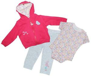 Girls Baby 3 Piece Butterfly Hoody Bodysuit /& Leggings Set Newborn to 18 Months
