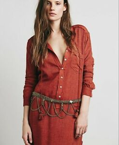 Free People Bronze Tangier Metal Chain Belt NWT