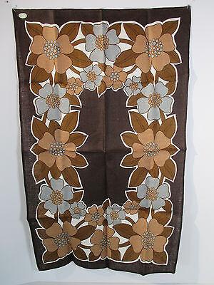 Kitchen Towel Linen Vintage Carson Pirie Scott Ireland Brown Blue Flowers Label