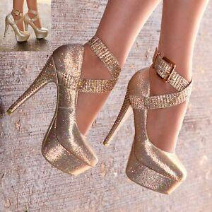 8205b9c5f161 Ladies Platform Stiletto Shoes Very High Heels Ankle strap Evening ...