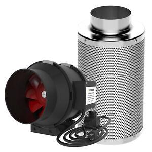 "VIVOSUN 4"" 6"" 8"" inch Inline Duct Fan w/ Controller& Air Carbon Filter Combo Kit"