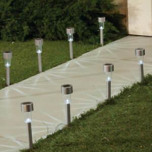 10x-Solaire-Alimente-LED-Jardin-Lumieres-Patio-Exterieur-Acier-Inoxydable-Blanc