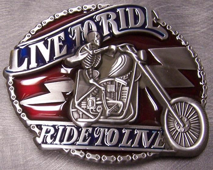 Pewter Belt Buckle Motorcycle Live to Ride Ride to Live NEW