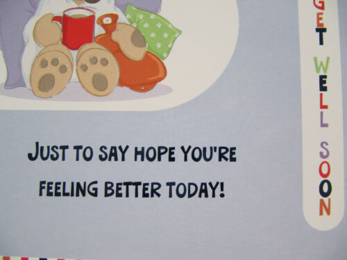 Details about  /COLOURFUL PUPPY PATIENT /& WATER BOTTLE GLOSS COATED GET WELL GREETING CARD