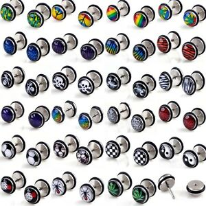 2pcs-Wholesale-Coin-Barbell-Ear-Studs-18G-Fake-Cheater-Stretcher-Expander-Plug