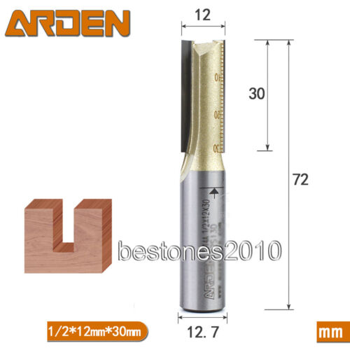 ARDEN Double Flute Metric Straight Router Bits Shank 1//2 Dia 12mm H 30mm Bits