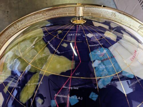 """14/"""" Blue Ocean Gold ZINC ALLOY table stand Gem MOP Gemstone World MAP globe"""