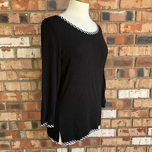 Parsley-and-Sage-Womens-Size-Small-Top-Black-White-Trim-3-4-Sleeve-Rayon-Shirt