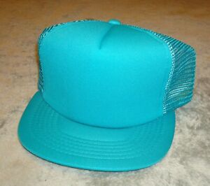 VTG-NEW-ERA-PRO-DESIGN-HAT-MESH-SNAP-BACK-80s-CAP-DUPONT-VISOR-TRUCKER-USA-TEAL