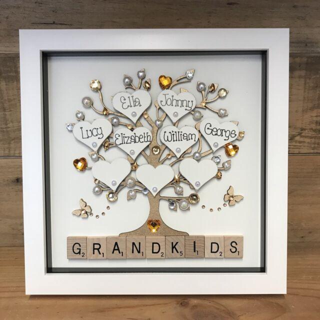 Personalised Box Frame Family tree Scrabble Gift Mum Nana Grandma Grandparents