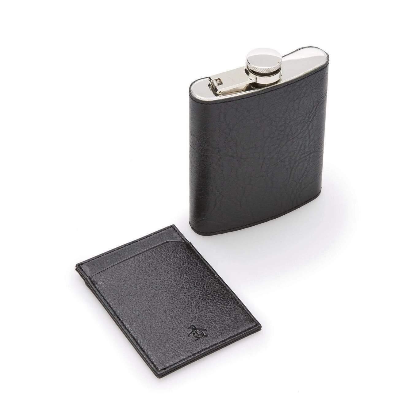 Nordstrom Rack - Original Penguin, Leather Pocket Flask 7oz & Card Holder, Black