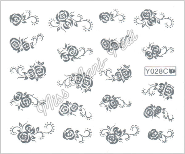 Nail Art Water Transfers Decals Stickers Metallic Gold/Silver Roses Flower Y028C