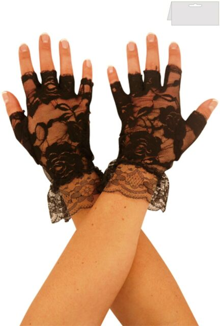 Deluxe 1980/'s Black Lace Madonna Fingerless Gloves With Lace Frill Fancy Dress