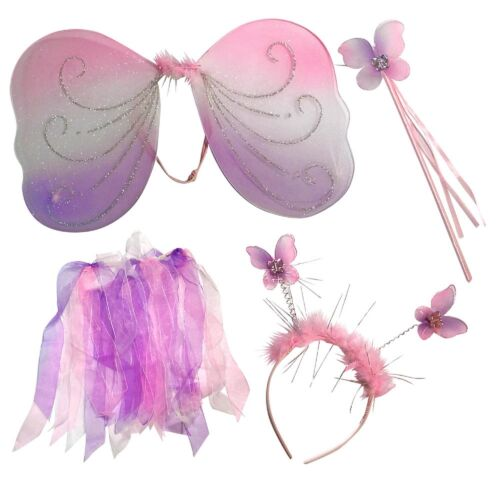 Tutu Wing Fairy Wand Girls Princess Fairy Costume Fancy Dress Up Set Bopper