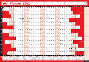 Anno Calendario 2020.Dettagli Su 2020 Annual Parete Calendario Anno Grafico Con Accessori Confezione Laminato