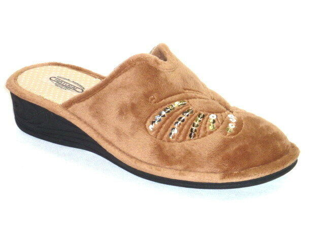 PANTOFOLE CIABATTE DONNA CALDO INVERNO BEIGE CON PAILLETTE N. 36 MADE IN ITALY