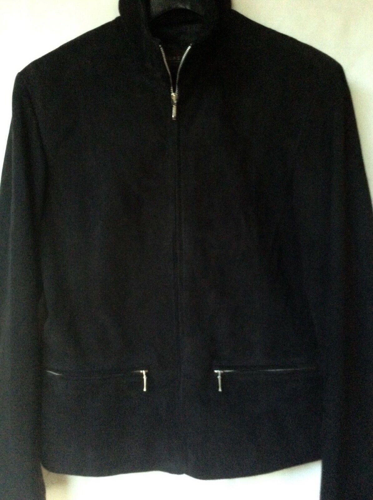 Femme Designer Julia S. Roma 100% Cuir Daim Zip Veste noire taille 10 14