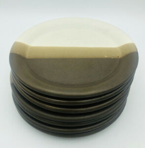 "(7) McCoy Salad Plates 7-1/4"", Brown/Tan Stripes Sandstone Nelson MCCOY POTTERY"