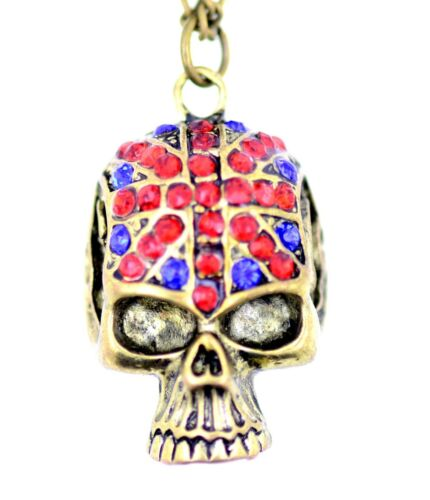 Vintage retro punk style skull with union jack patterned crystal necklace