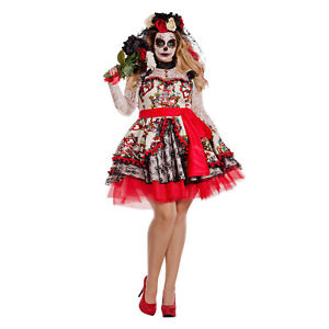 3d288e3e9ad Details about Women s PLUS Day Of The Dead Costume Sugar Skull Dress  Muertos 1X 2X 3X 4X 5X