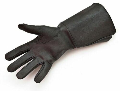 Leather Gloves Long Arm Cuff Men/'s Medieval Renaissance Gauntlet cosplay Black