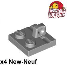 Lego - 4x Charnière hinge Plate plaque 2x2 locking gris/light b. gray 92582 NEUF