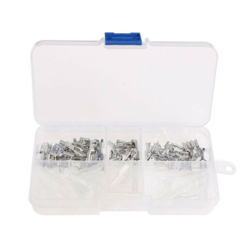 120Pcs Car Male Female Spade Connector Wire Crimp Terminal W// Insulating Sleeves