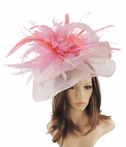 Candy Pink   Coral Fascinator Hat For Weddings Ascot Proms With ... d9f8895218e2