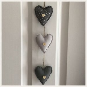 Incredible Details About Handmade Fabric Set Of Three Shabby Chic Vertical Hanging Hearts Home Interior And Landscaping Ponolsignezvosmurscom