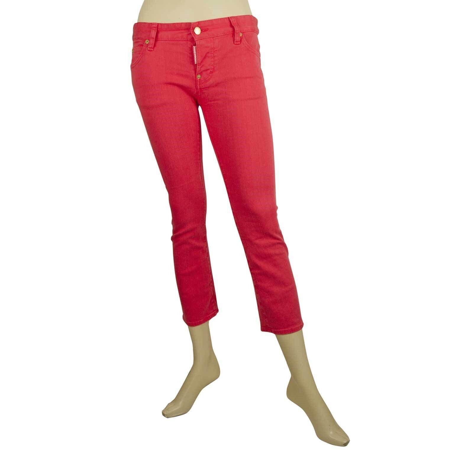 Dsquared 2 D2 Magenta Pink Capri Cropped Skinny Trousers Pants S75LA0378 sz 38