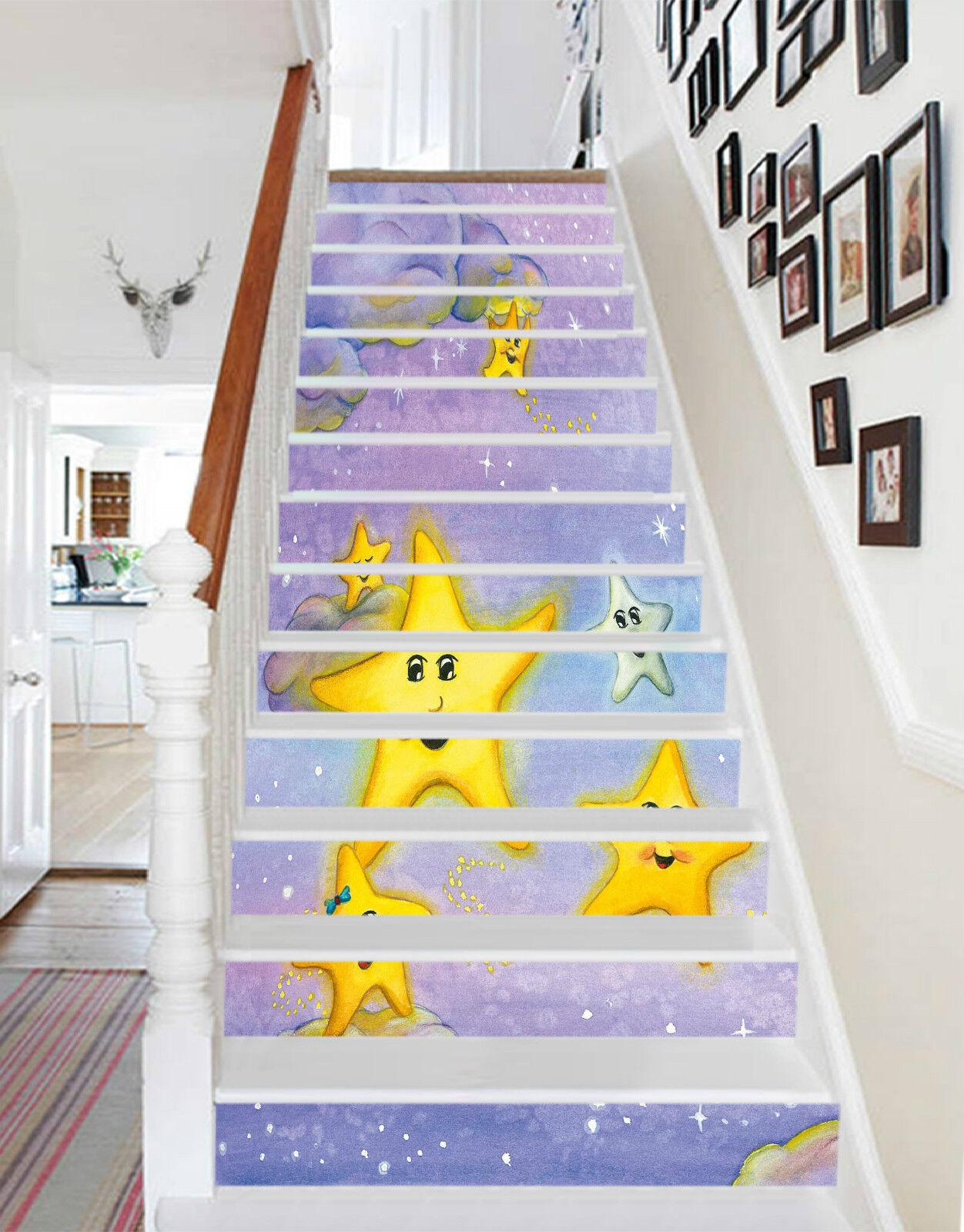 3D Netter Stern 002 Stair Risers Dekoration Fototapete Vinyl Aufkleber Tapete DE