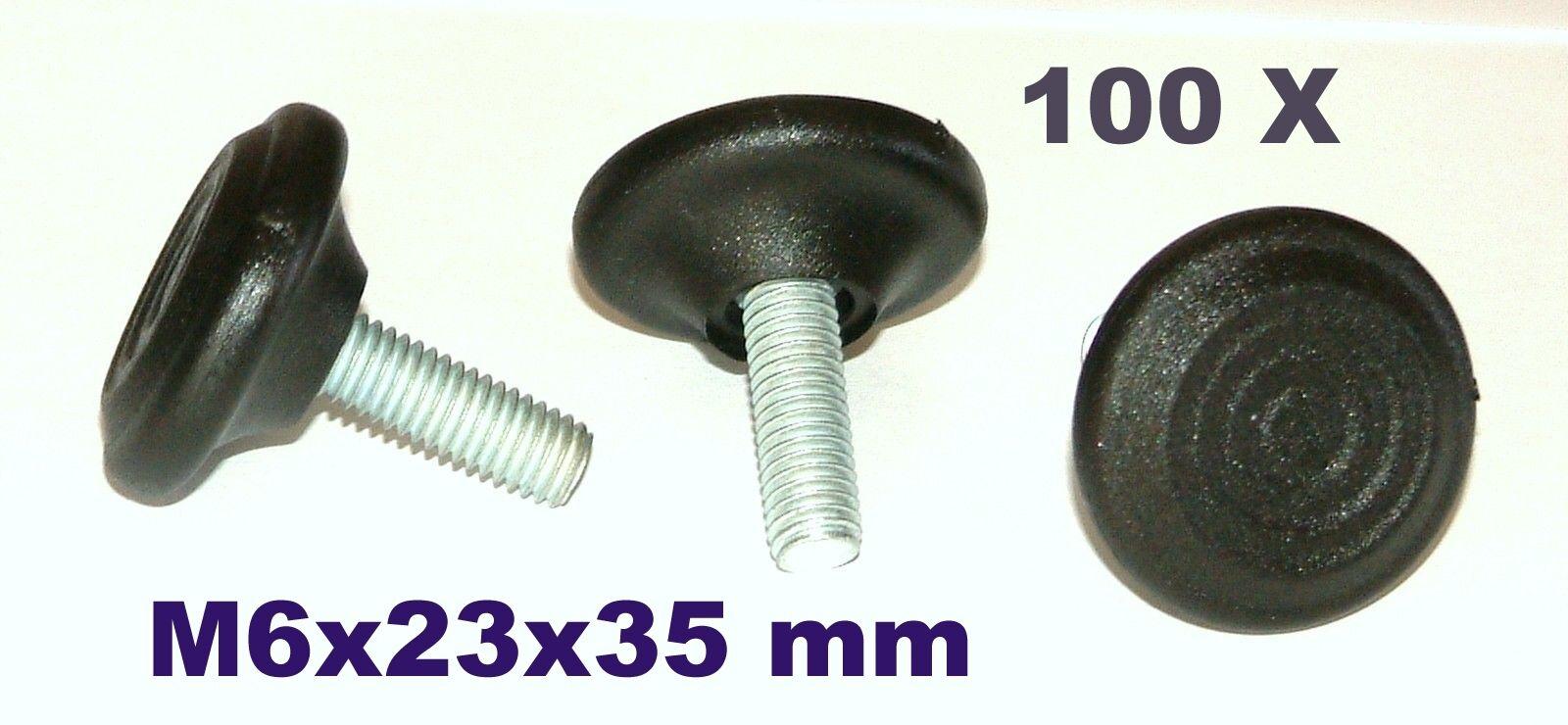 100x M6x23x35 mm Verstellfußschraube Möbelfuß Stellschraube Stellteller Stellfuß