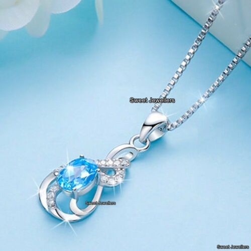 925 Silver Blue Crystal Diamond Necklace Love Xmas Gifts For Her Wife Mum Women