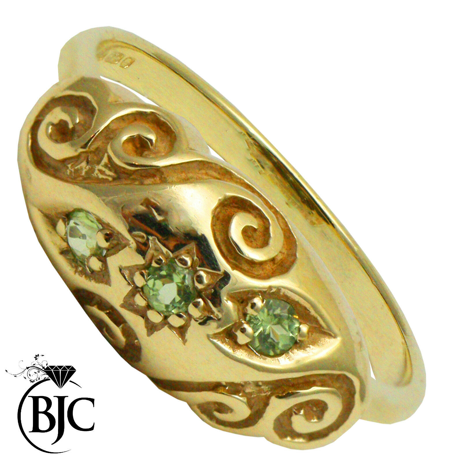 BJC 9 ct Péridot OR yellow 0.15ct CT gypsy size M Bague de fiançailles R149