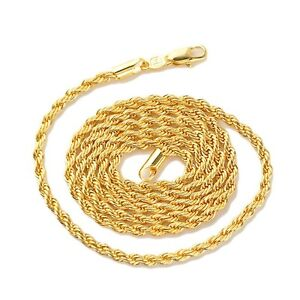 Men-Women-039-s-Necklace-Rope-Chain-18k-Yellow-Gold-Filled-24-034-Link-Fashion-Jewelry