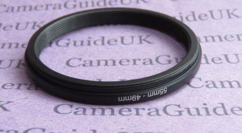 55 Mm Para Retencion 49mm Macho-hembra Stepping Step Down filtro anillo adaptador 55mm-49mm Reino Unido