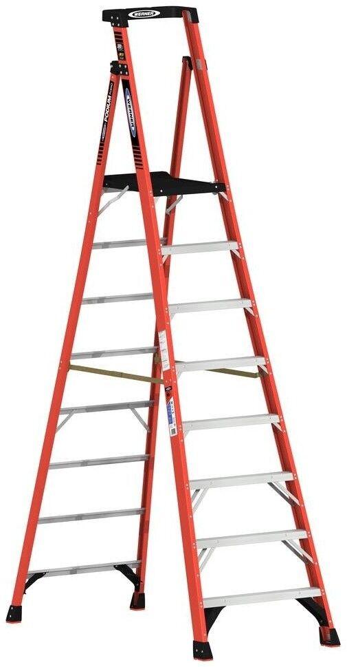 14ft. Reach Podium Ladder Fiberglass Large Platform Slip-Resistant 300 lb. Load