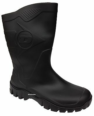 Mens Womens Dunlop BlackGreen Short Half Length Ankle Wellington Boots Wide Calf