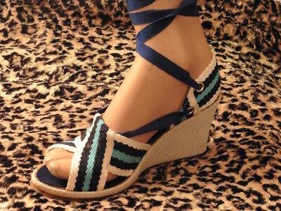 Attivo Magnifico Sandali Zeppa Vintage 1970 T.38/sandalo Shoes Old New Attraente E Durevole